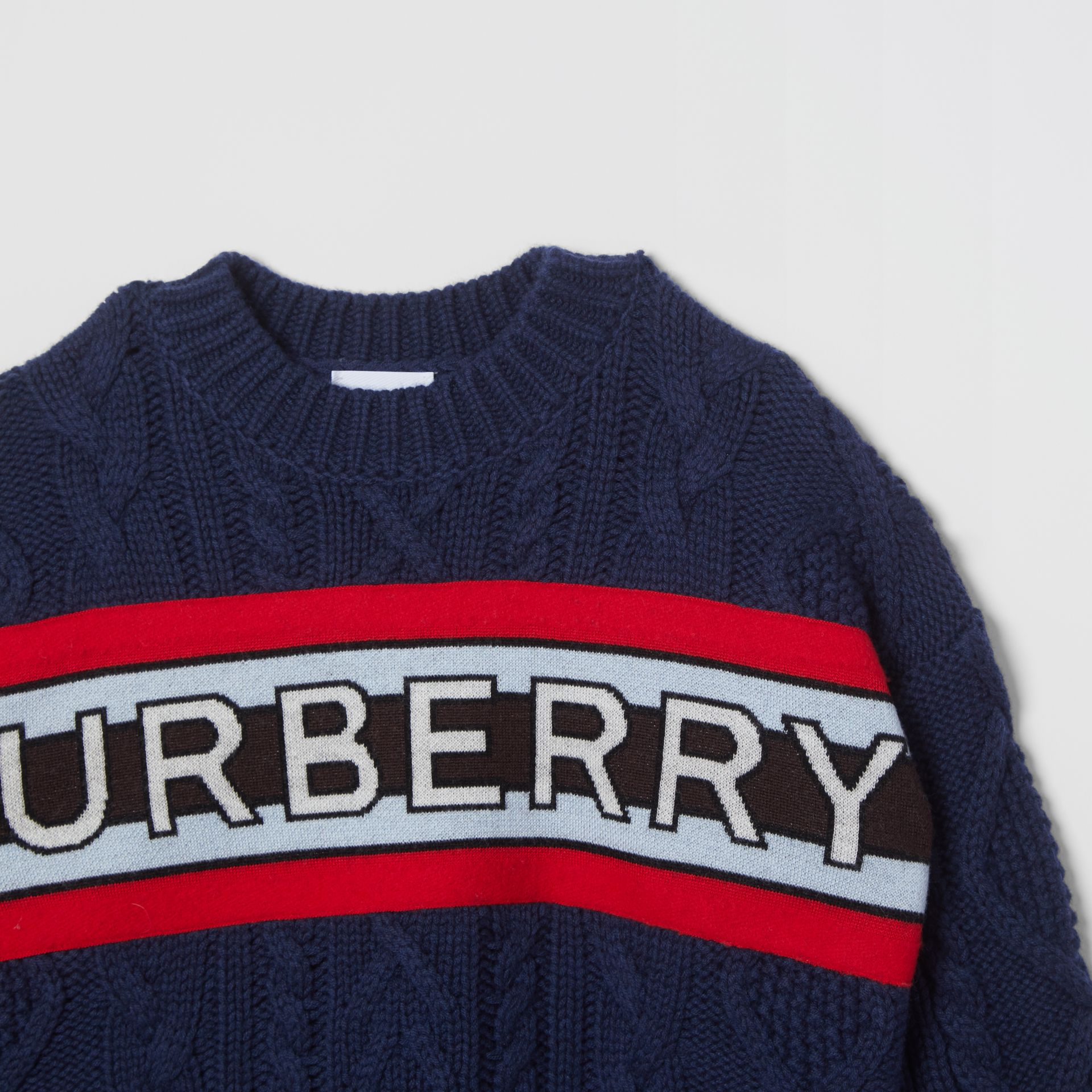 Logo Panel Cable Knit Wool Cashmere Sweater in Navy | Burberry Singapore - gallery image 4