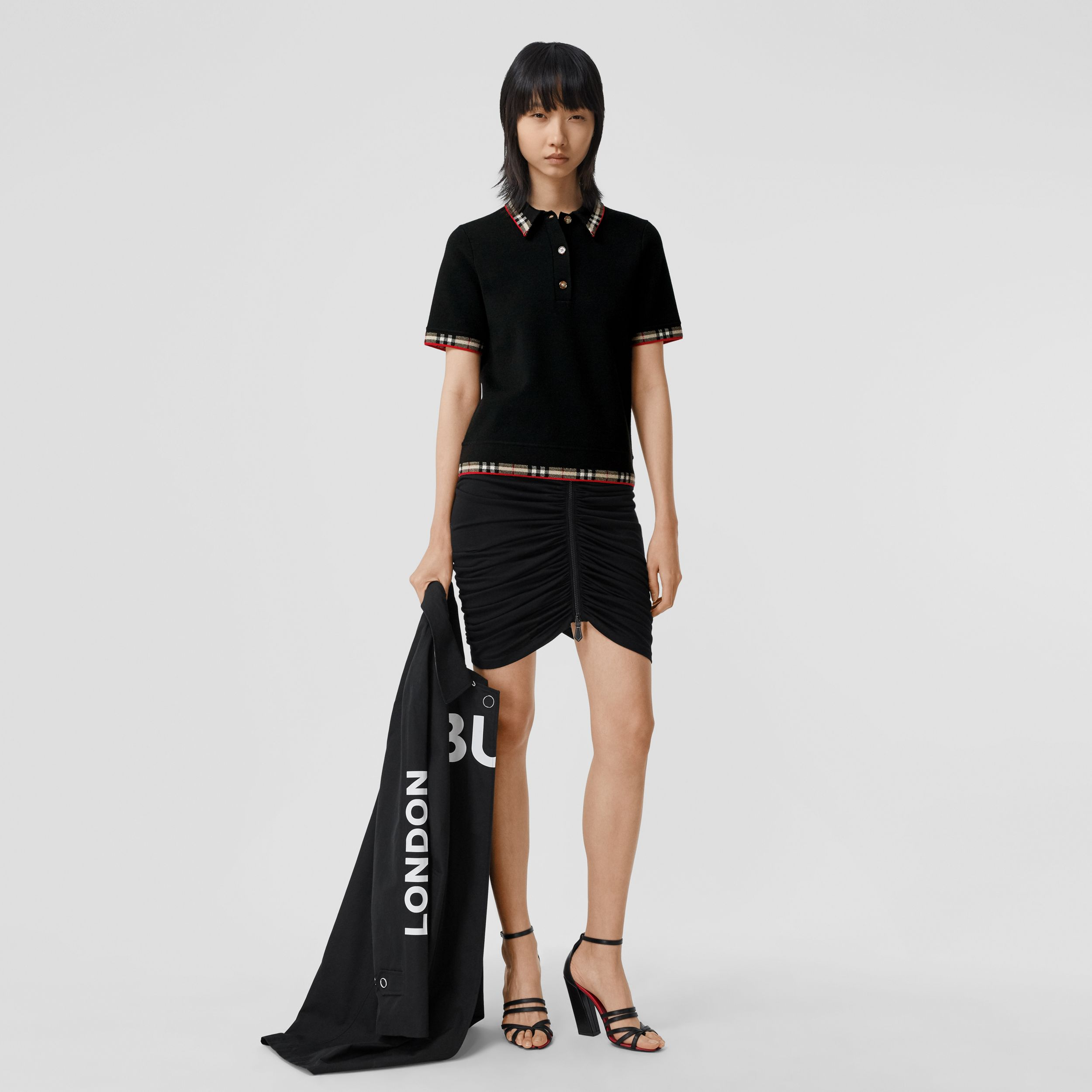 Check Trim Merino Wool Blend Polo Shirt in Black - Women | Burberry - 1