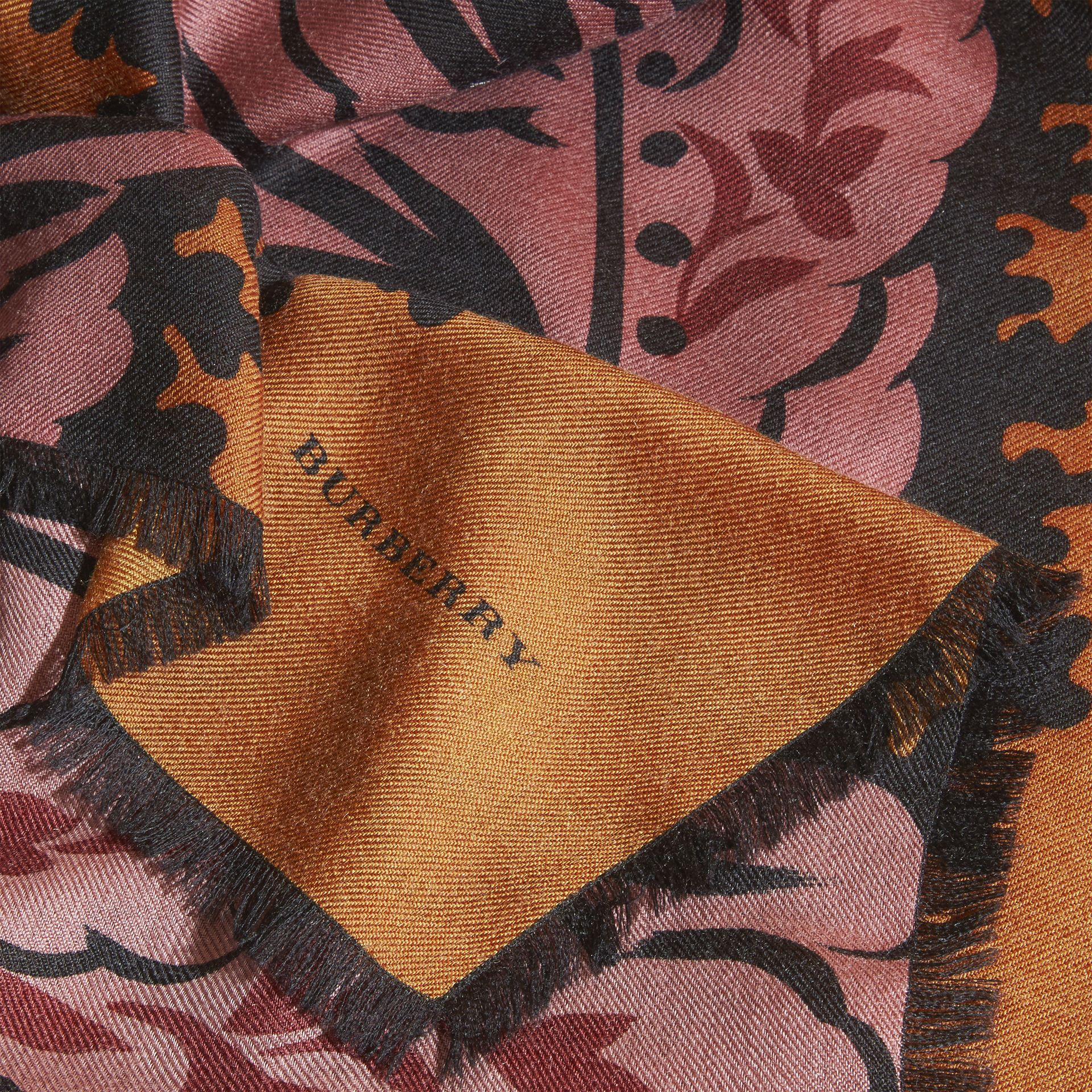 Bright toffee Leaf Print Cashmere Scarf Bright Toffee - gallery image 2