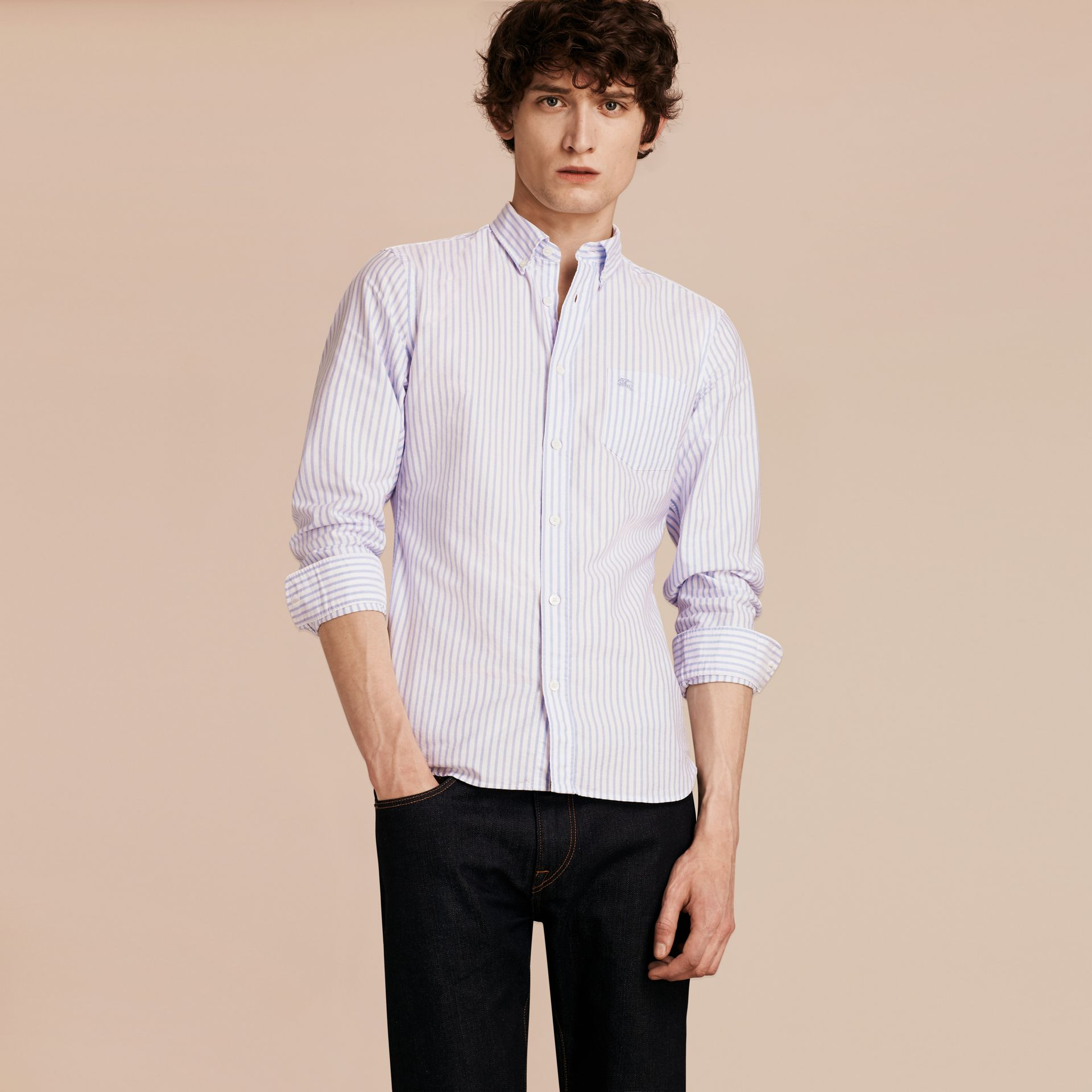 Button-down Collar Oxford Stripe Cotton Shirt Pale Blue - gallery image 5