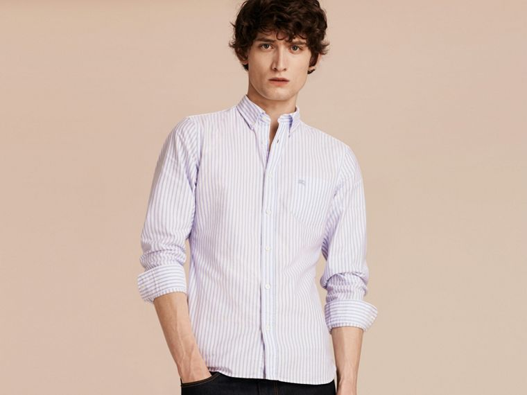 Pale blue Button-down Collar Oxford Stripe Cotton Shirt Pale Blue - cell image 4
