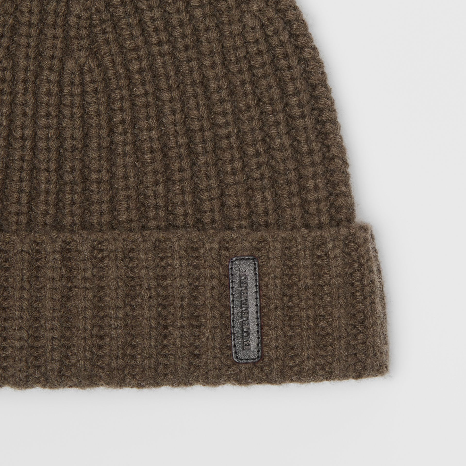 Rib Knit Cashmere Beanie in Olive Green | Burberry - gallery image 1