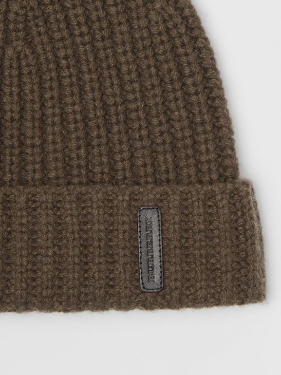 Rib Knit Cashmere Beanie in Olive Green | Burberry - cell image 1