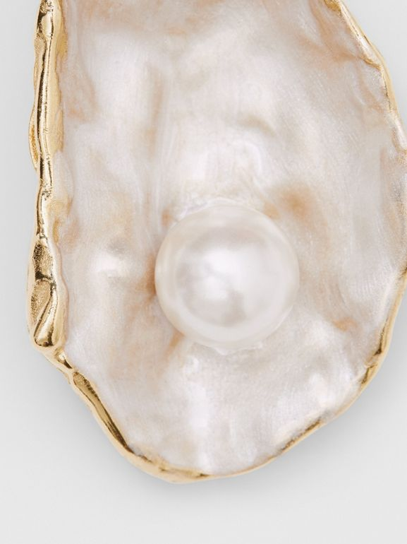 Faux Pearl Detail Gold-plated Oyster Earrings in Light  / - Women | Burberry United Kingdom - cell image 1