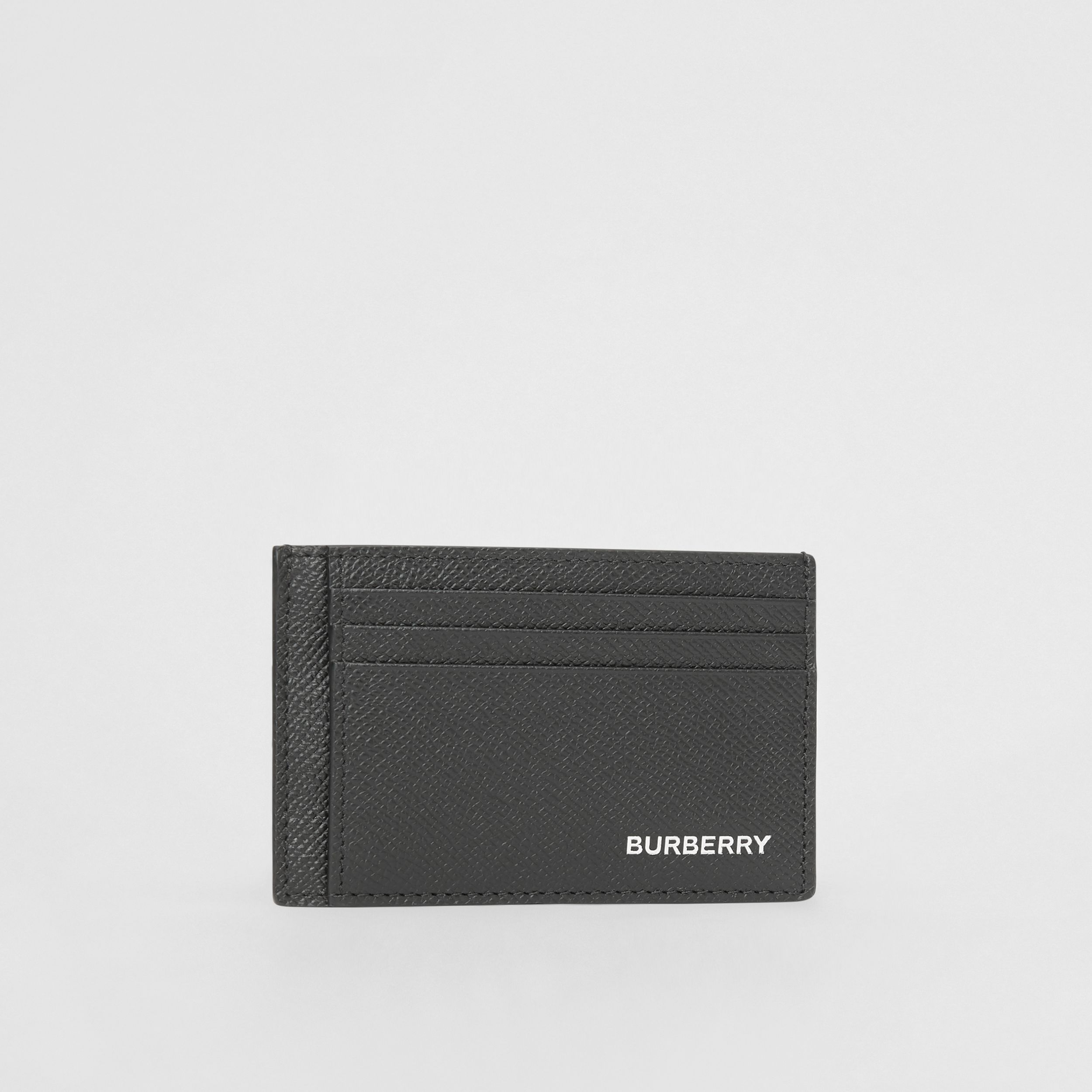 Grainy Leather Money Clip Card Case in Black - Men | Burberry - 4