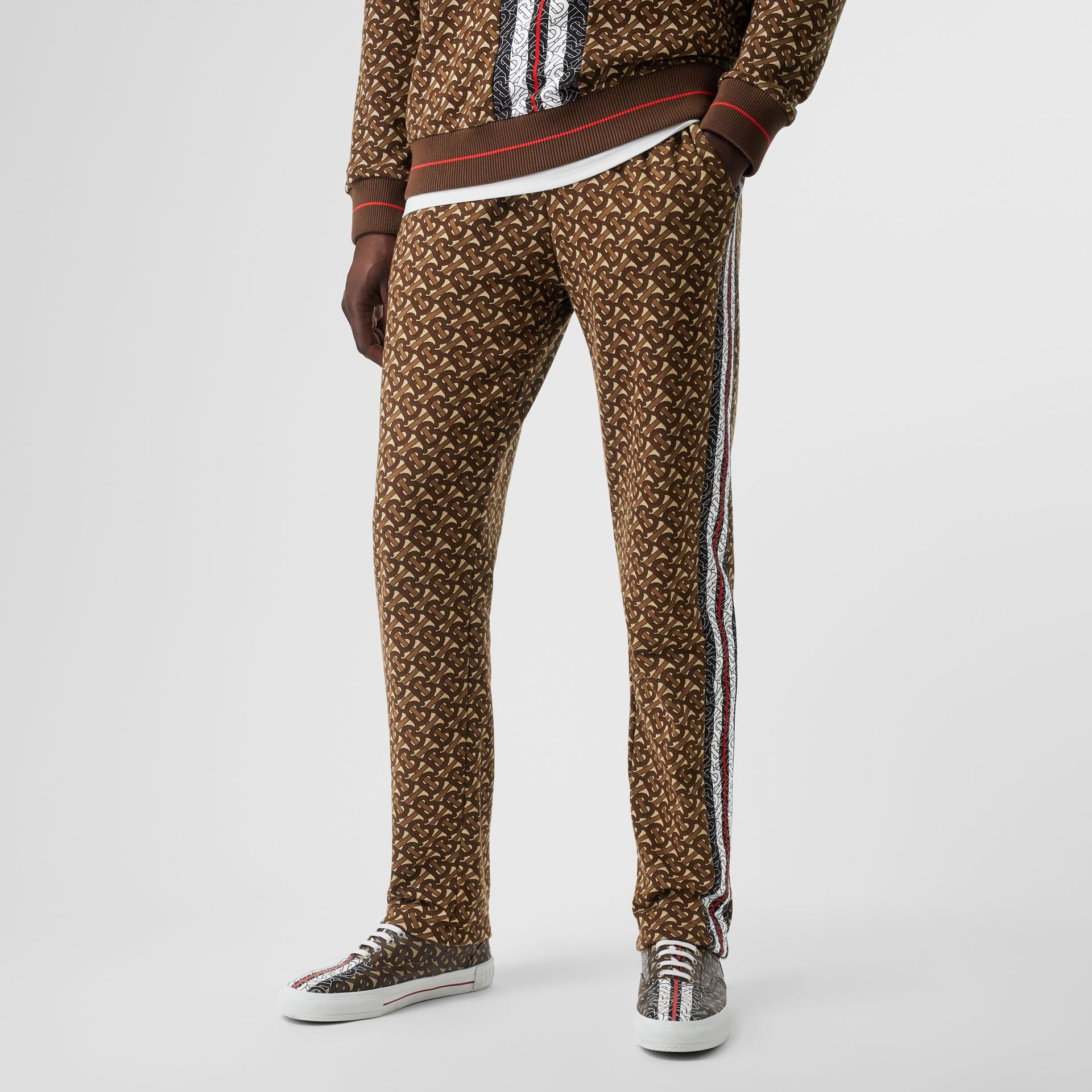 Monogram Stripe Print Cotton Trackpants in Bridle Brown - Men | Burberry - gallery image 4