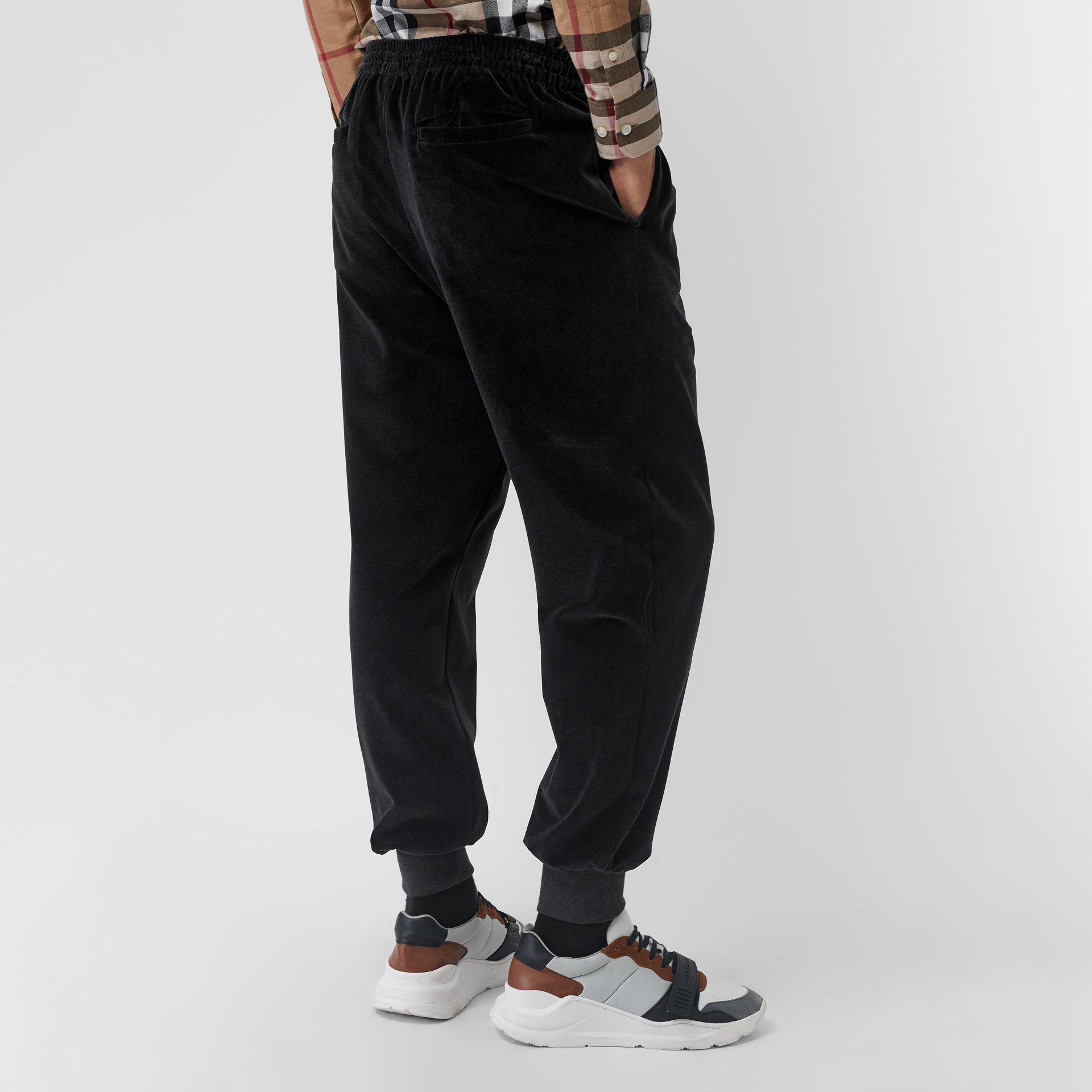 Chequer EKD Velour Trackpants in Steel Grey Melange - Men | Burberry Canada - gallery image 2
