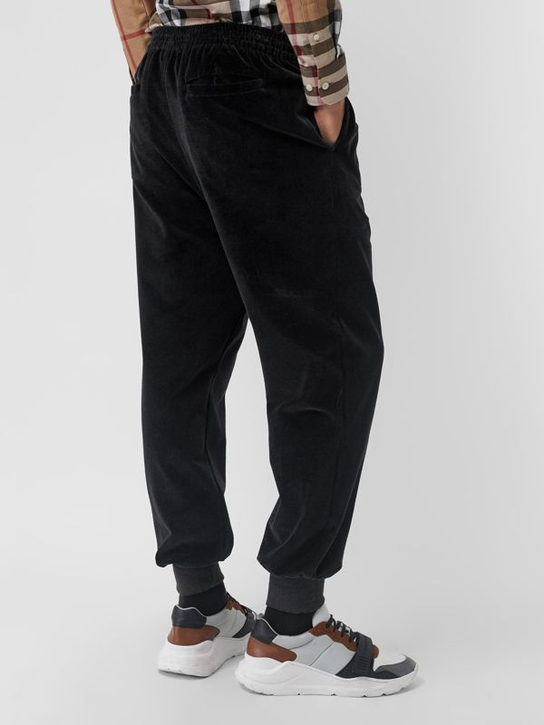 Chequer EKD Velour Trackpants in Steel Grey Melange - Men | Burberry - cell image 2