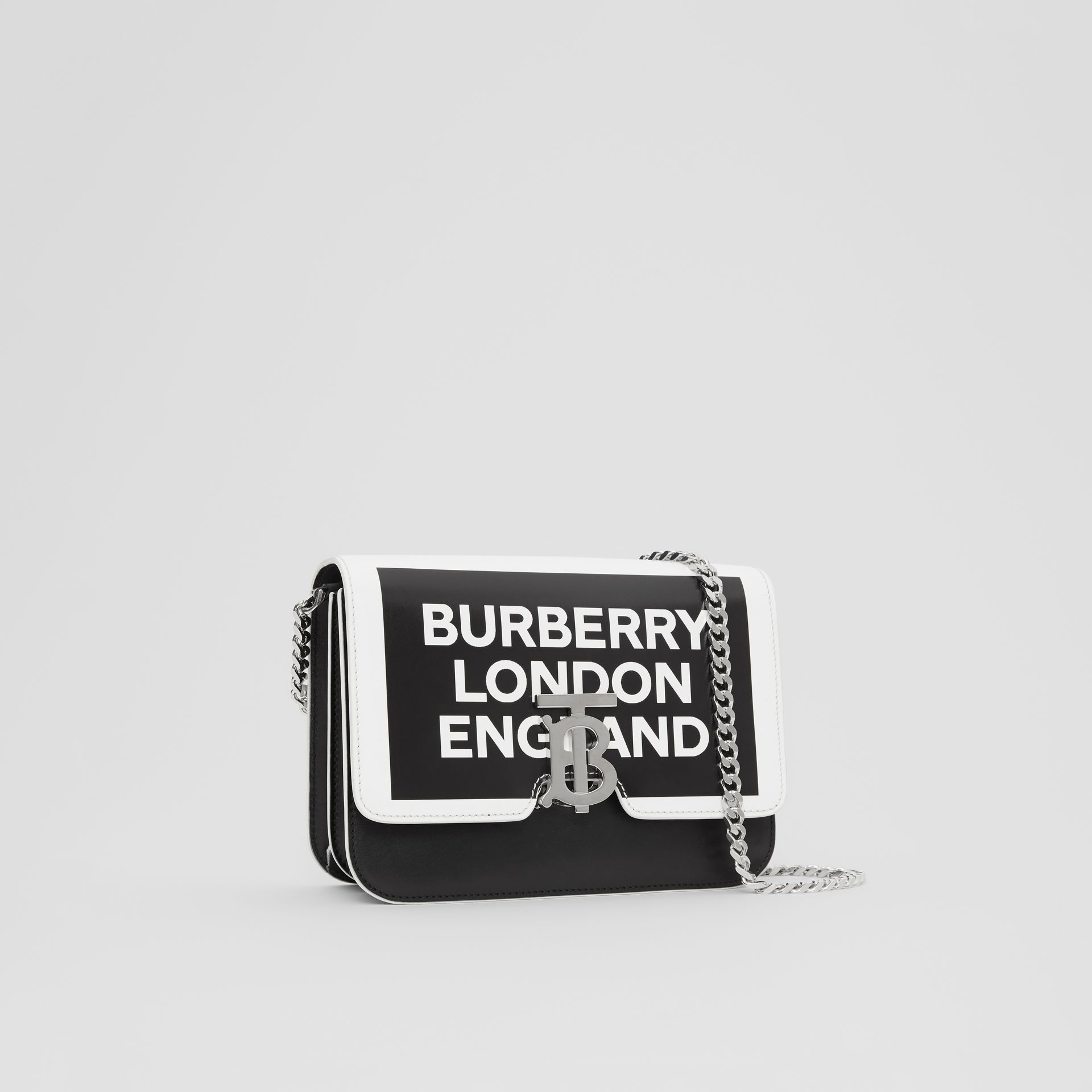 Small Logo Print Leather TB Bag in Black/white - Women | Burberry United Kingdom - gallery image 6