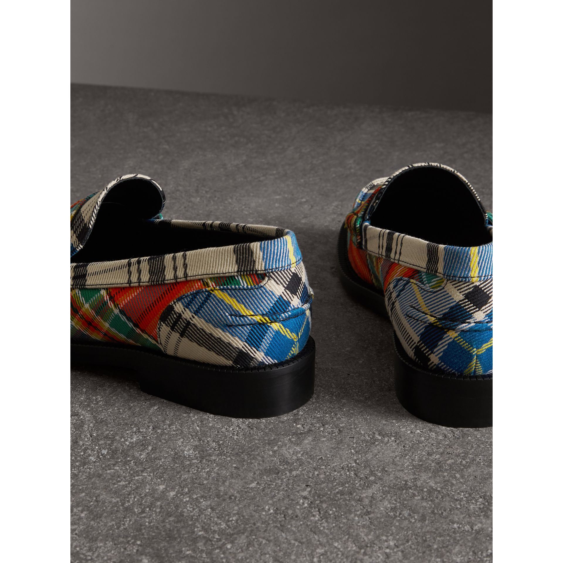 Tartan Cotton Penny Loafers in Poppy Orange - Women | Burberry - gallery image 3