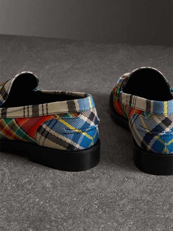 Tartan Cotton Penny Loafers in Poppy Orange - Women | Burberry - cell image 3