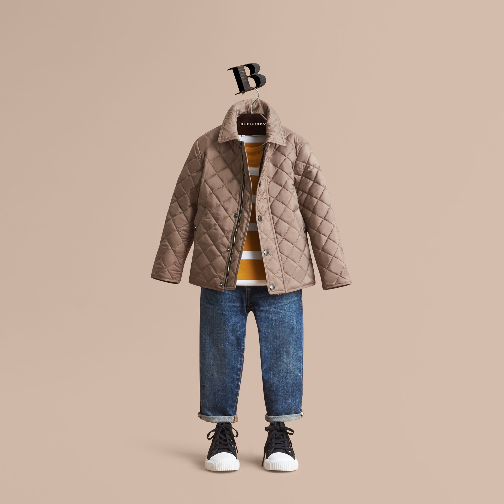 Diamond Quilted Jacket in Dark Mushroom - Boy | Burberry - gallery image 1