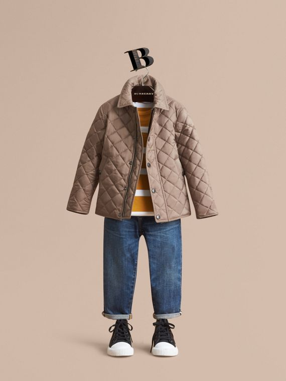 Diamond Quilted Jacket in Dark Mushroom - Boy | Burberry