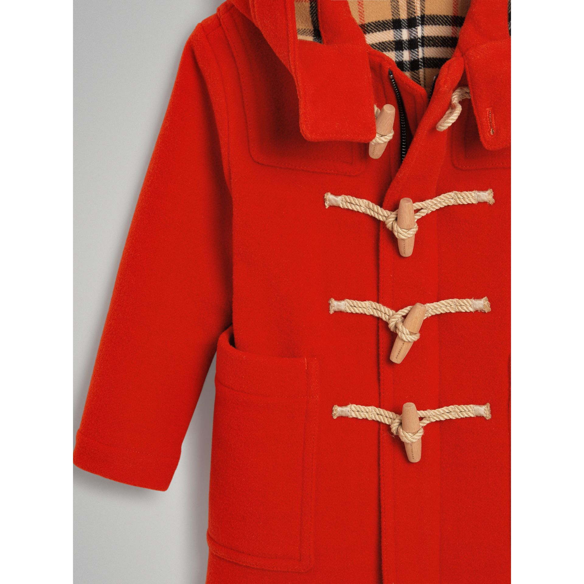 Double-faced Wool Duffle Coat in Orange Red | Burberry Canada - gallery image 4