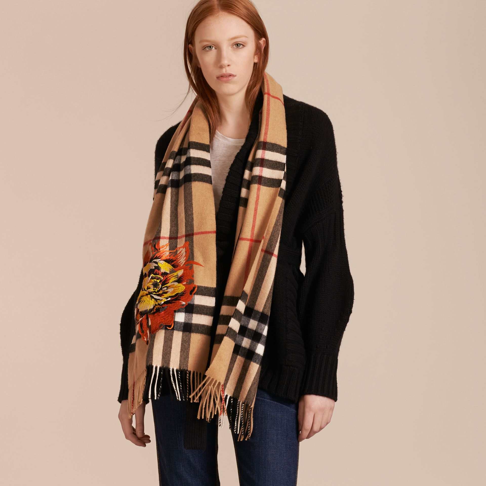 Camel/vibrant orange The Classic Cashmere Scarf with Embroidered Peony Rose - gallery image 3