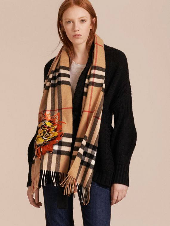 Camel/vibrant orange The Classic Cashmere Scarf with Embroidered Peony Rose - cell image 2