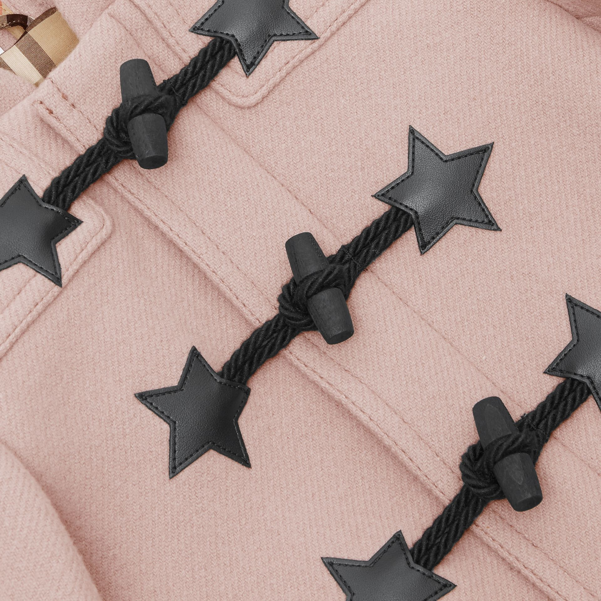 Faux Leather Star Detail Wool Blend Duffle Coat in Lavender Pink - Children | Burberry - gallery image 1