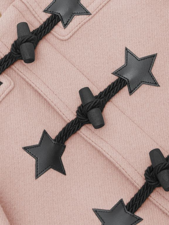 Faux Leather Star Detail Wool Blend Duffle Coat in Lavender Pink - Children | Burberry - cell image 1