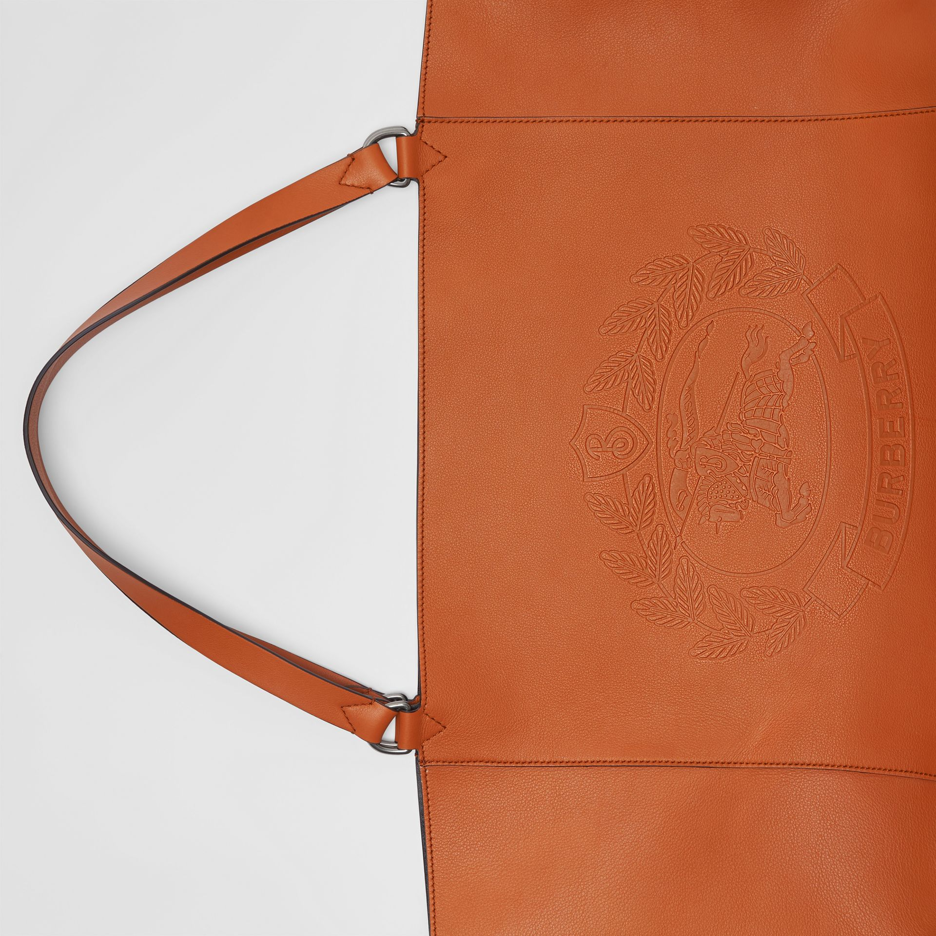 Large Embossed Crest Bonded Leather Tote in Bright Tan | Burberry - gallery image 1