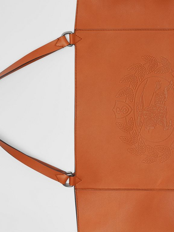 Large Embossed Crest Bonded Leather Tote in Bright Tan - Men | Burberry United Kingdom - cell image 1
