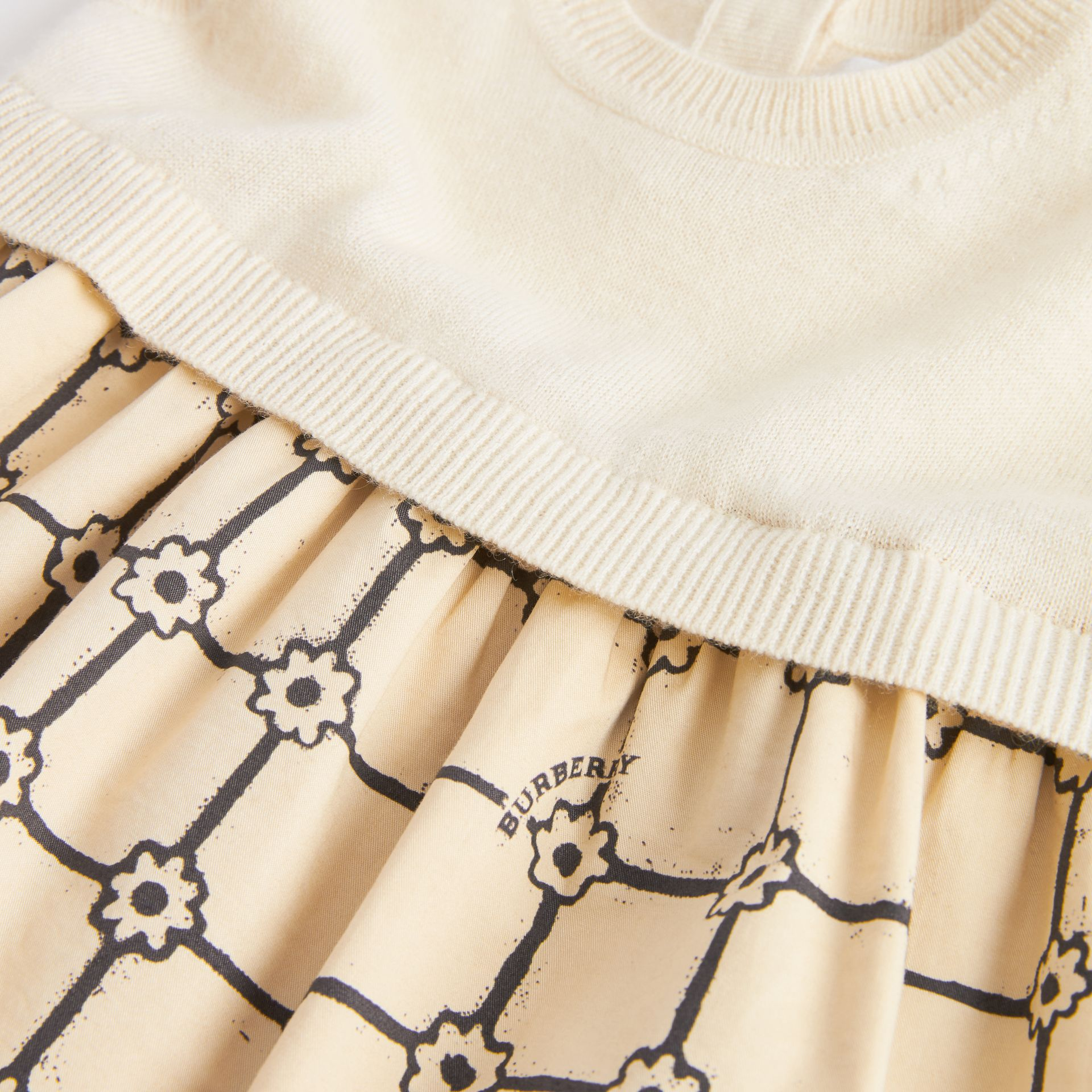 Knit Cashmere and Flower Print Cotton Dress in Ivory - Children | Burberry - gallery image 1
