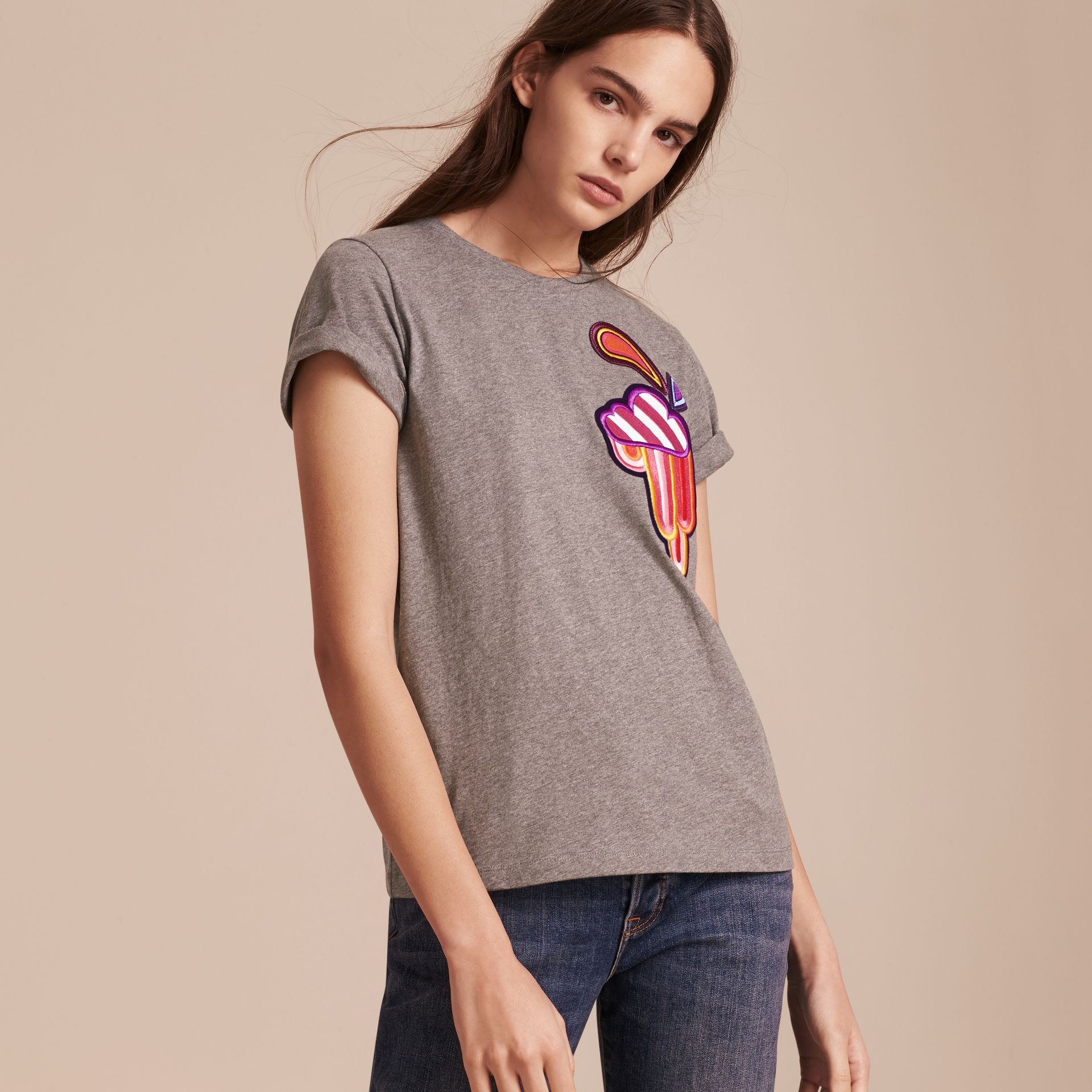 Appliquéd Weather Motif Cotton T-shirt Mid Grey Melange - gallery image 6