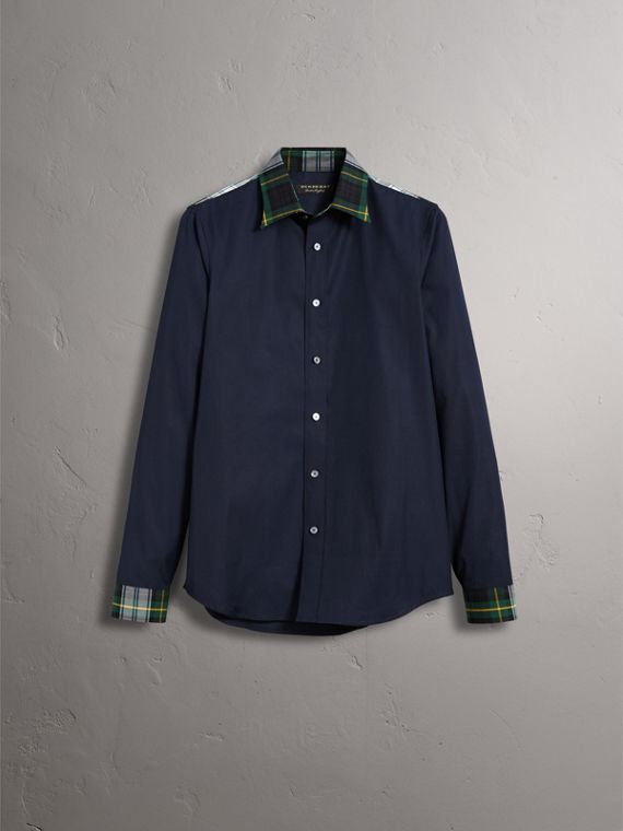Tartan Cotton Gabardine Detail Cotton Poplin Shirt in Navy - Men | Burberry United Kingdom - cell image 3