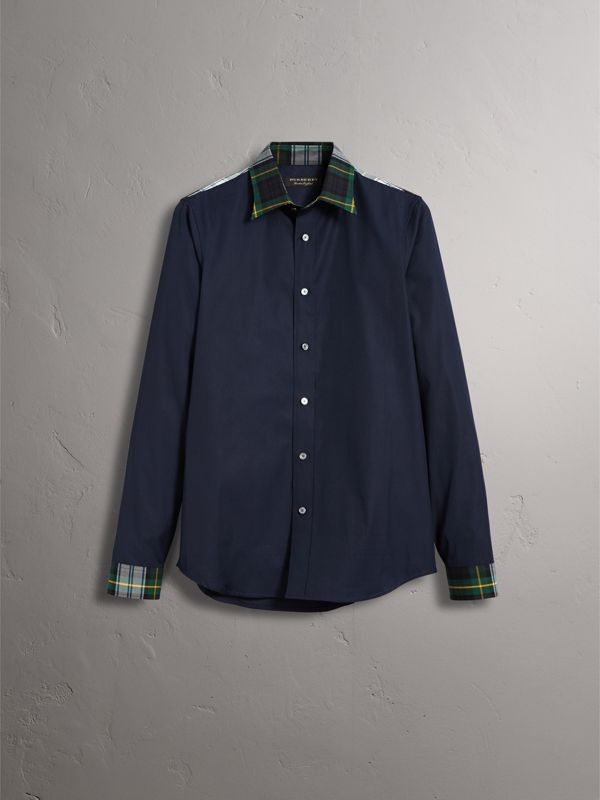 Tartan Cotton Gabardine Detail Cotton Poplin Shirt in Navy - Men | Burberry - cell image 3