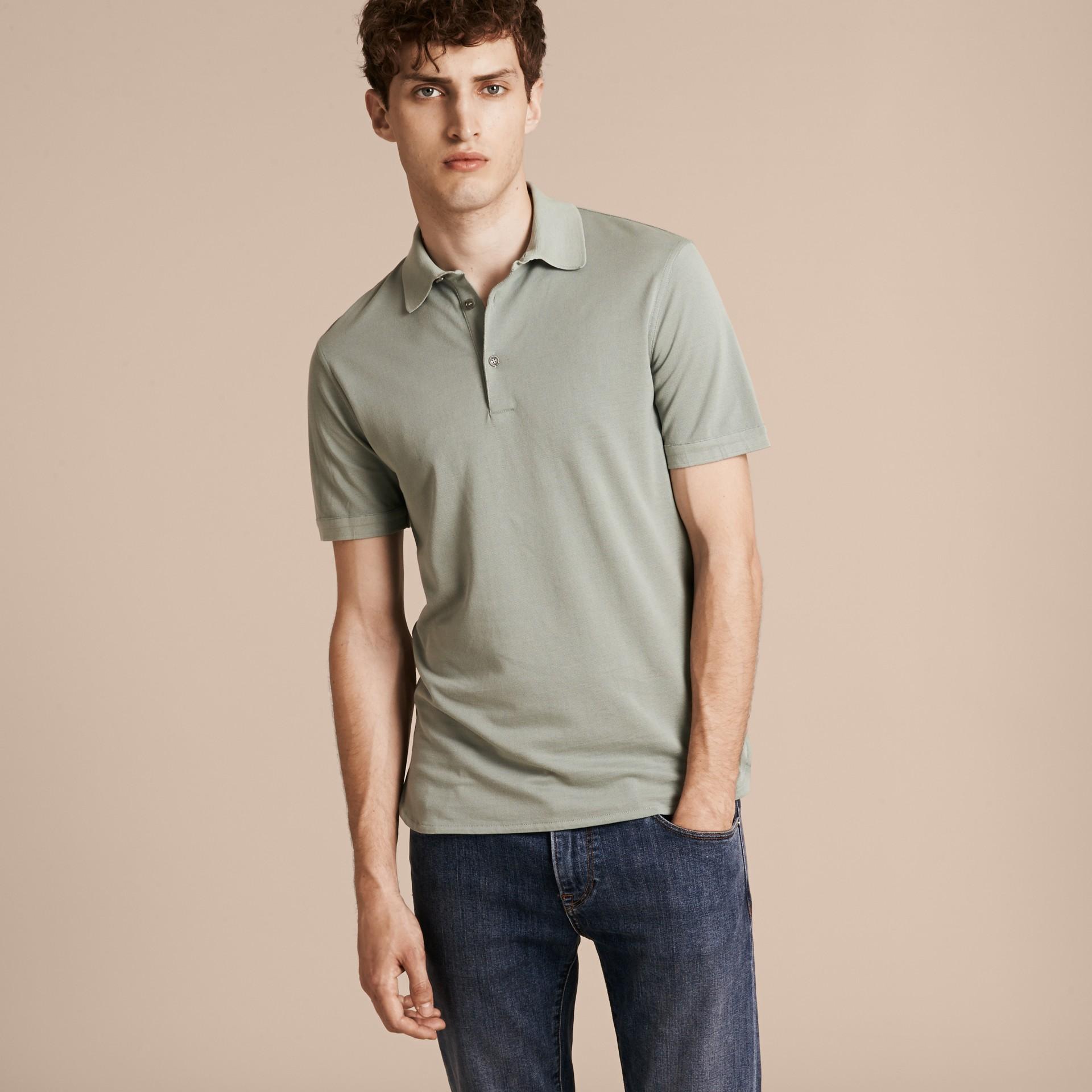 Eucalyptus green Silk Cotton Polo Shirt - gallery image 6