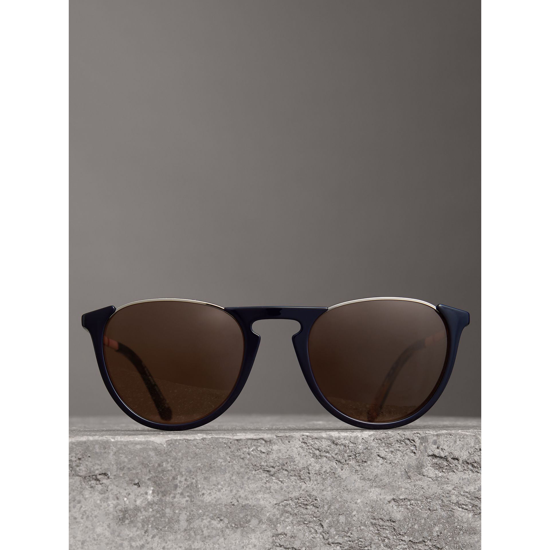Keyhole Pilot Round Frame Sunglasses in Blue - Men | Burberry - gallery image 2