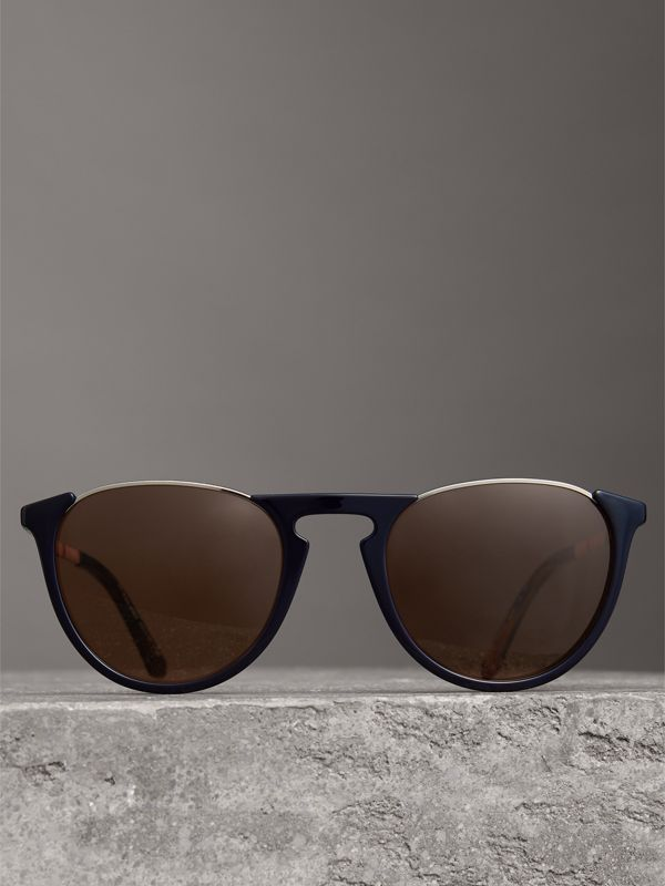 Keyhole Pilot Round Frame Sunglasses in Blue - Men | Burberry - cell image 2