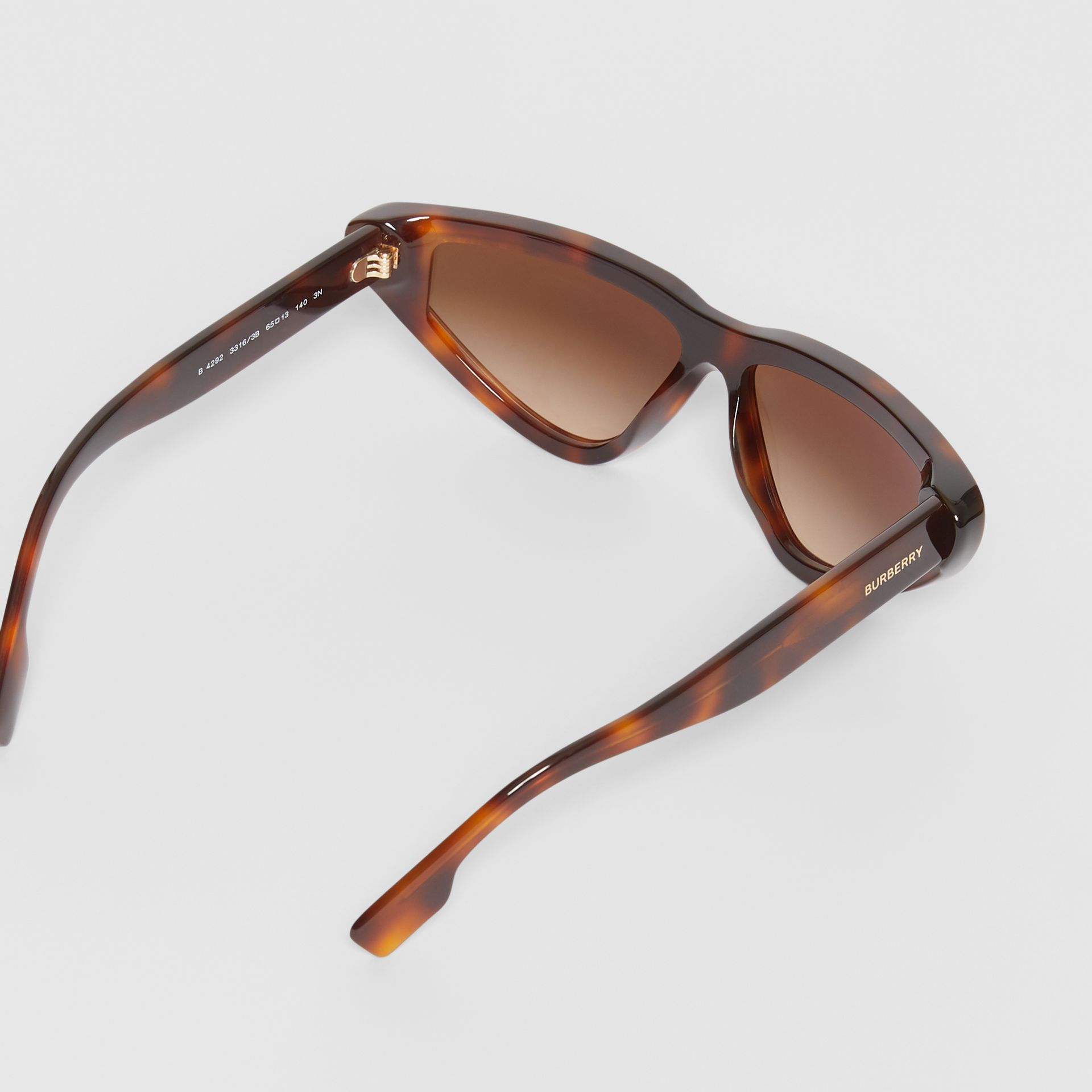 Triangular Frame Sunglasses in Tortoiseshell - Women | Burberry - gallery image 4