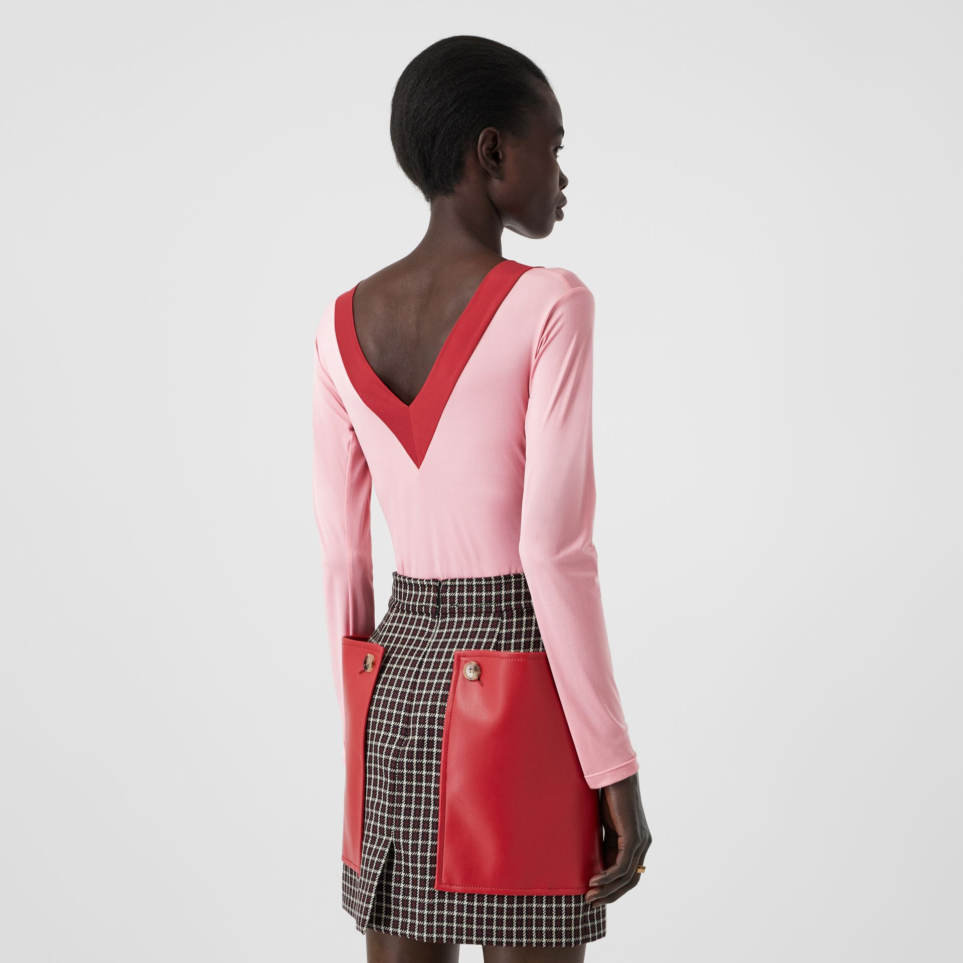 Body en jersey stretch bicolore (Rose) - Femme | Burberry - photo de la galerie 1
