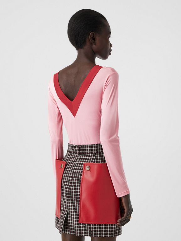 Two-tone Stretch Jersey Bodysuit in Pink - Women | Burberry - cell image 1