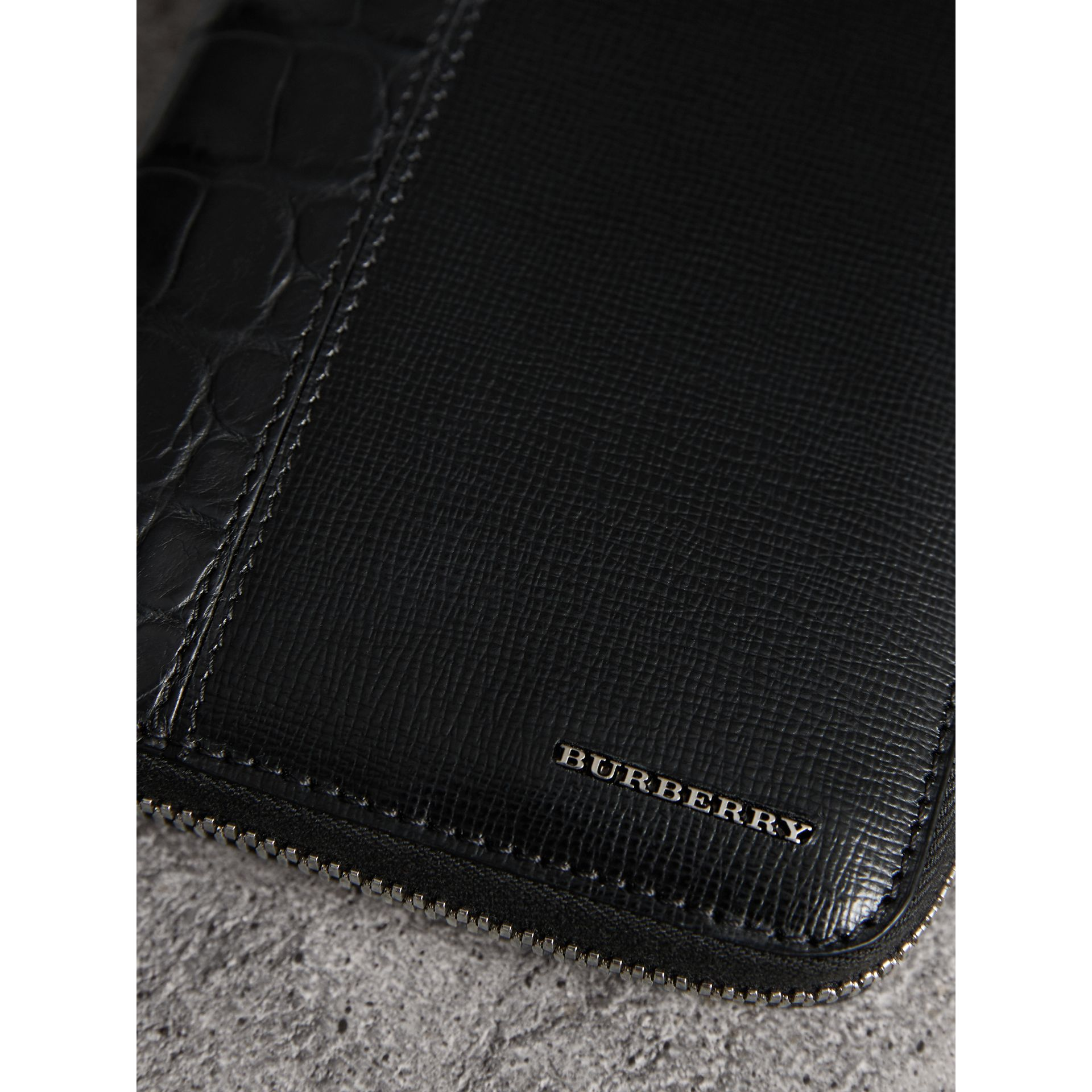 London Leather and Alligator Ziparound Wallet in Black - Men | Burberry - gallery image 1