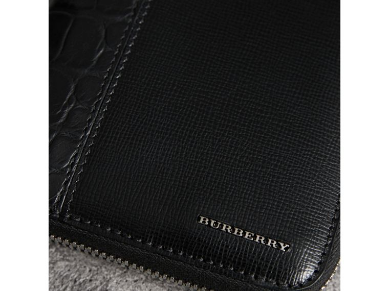 London Leather and Alligator Ziparound Wallet in Black - Men | Burberry United States - cell image 1