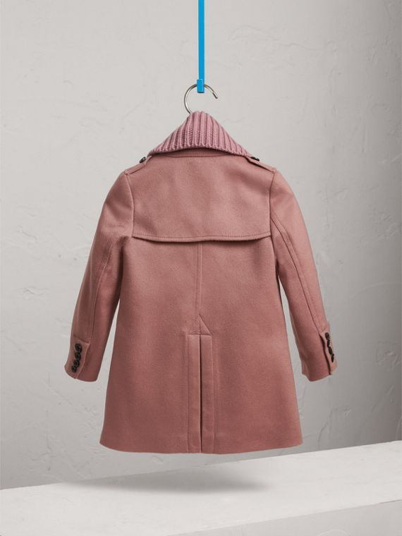 Detachable Rib Knit Collar Tailored Cashmere Coat in Antique Rose - Girl | Burberry - cell image 3