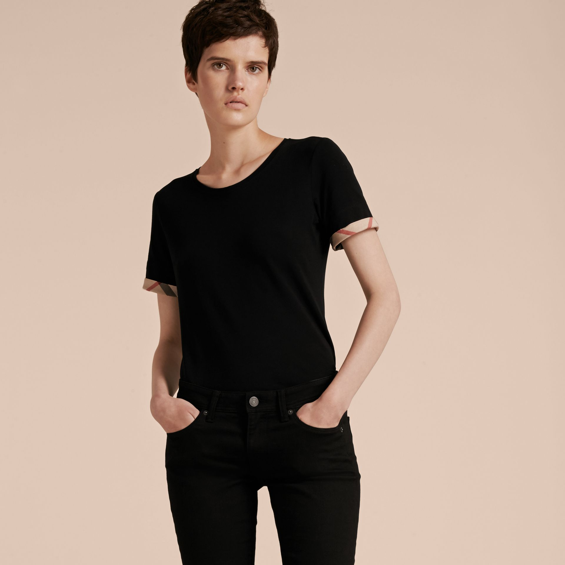 Check Cuff Stretch Cotton T-Shirt in Black - Women | Burberry - gallery image 6