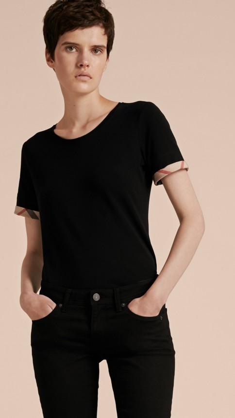 Black Check Cuff Stretch Cotton T-Shirt Black - Image 6