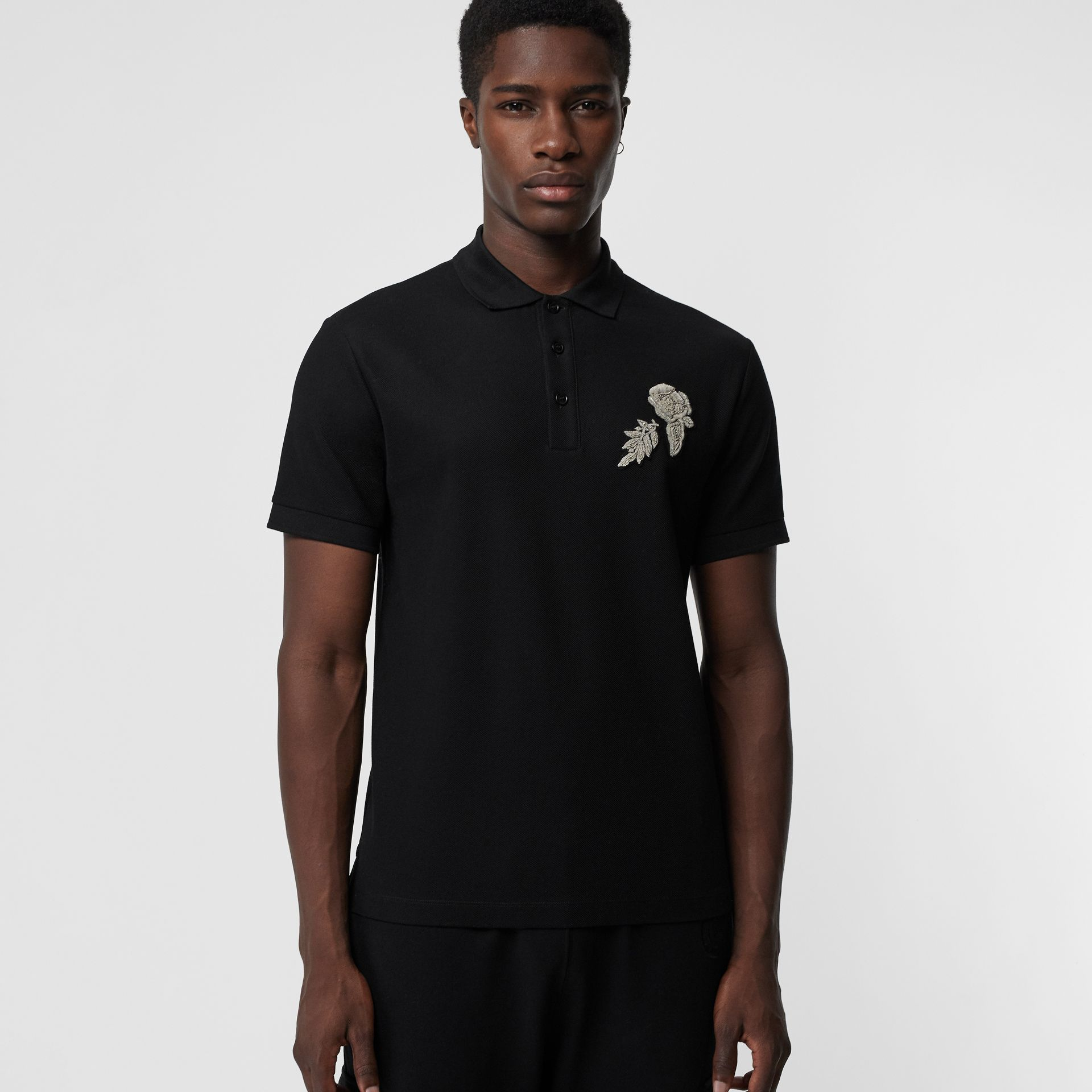 Bullion Floral Cotton Piqué Polo Shirt in Black - Men | Burberry Canada - gallery image 4