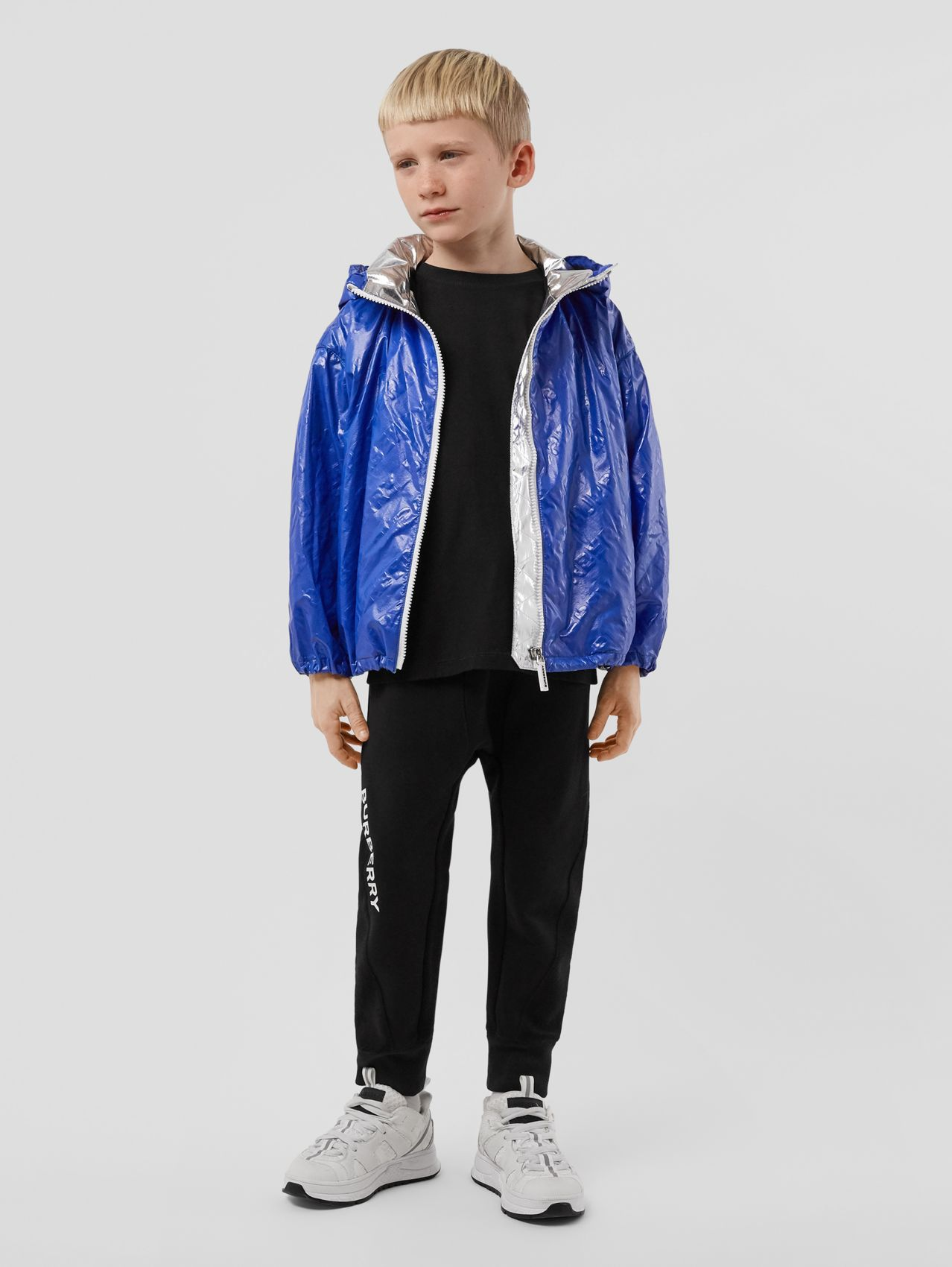 Logo Print Lightweight Hooded Jacket in Deep Cobalt