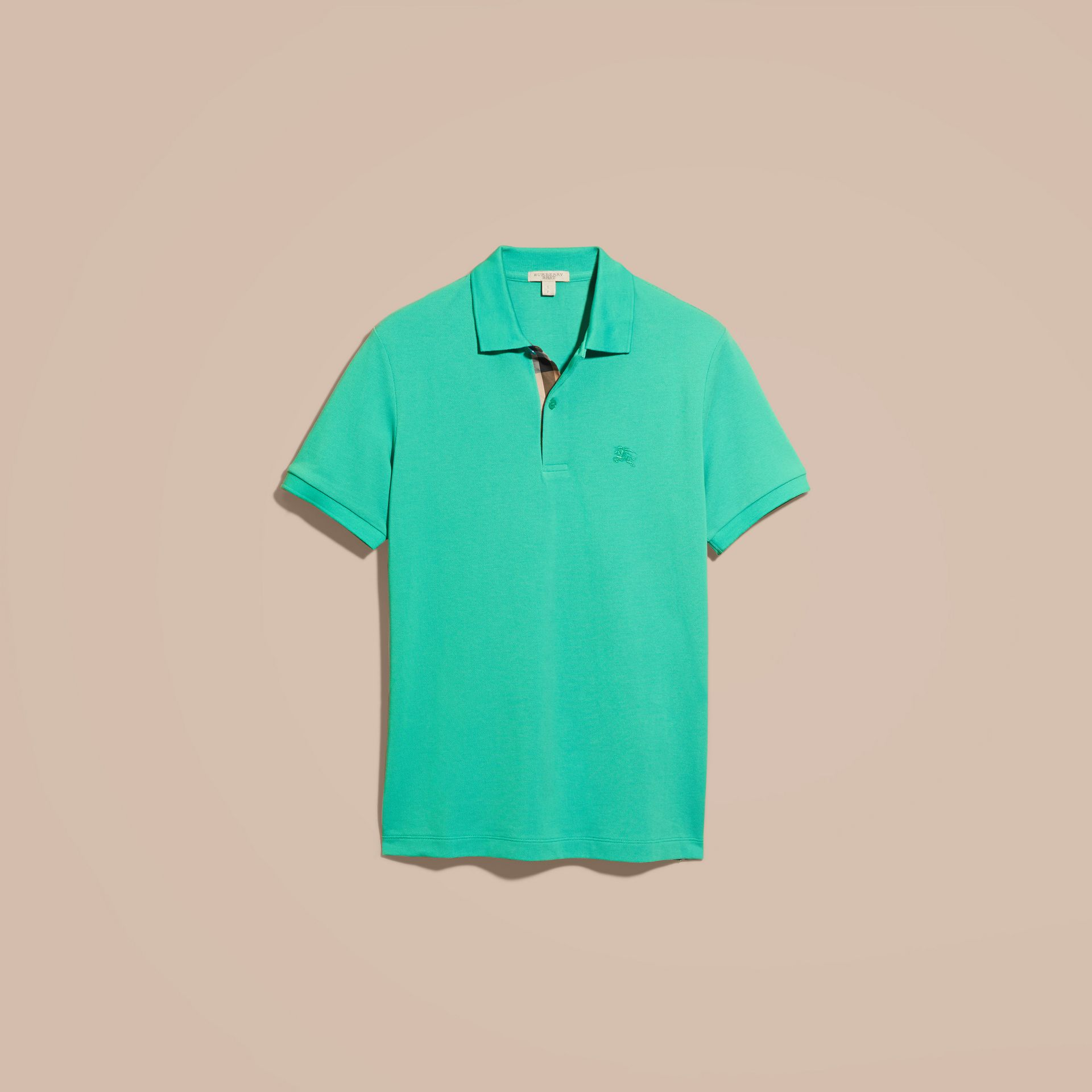 Cyan green Check Placket Cotton Piqué Polo Shirt Cyan Green - gallery image 4