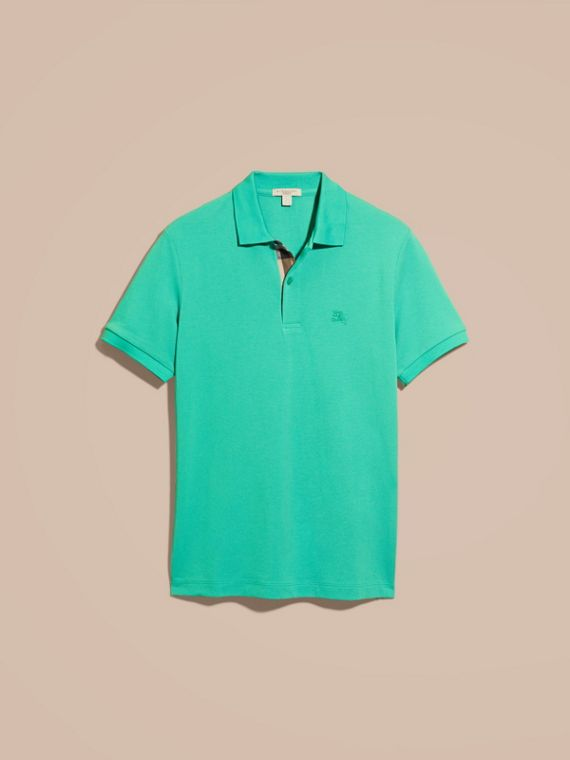 Cyan green Check Placket Cotton Piqué Polo Shirt Cyan Green - cell image 3
