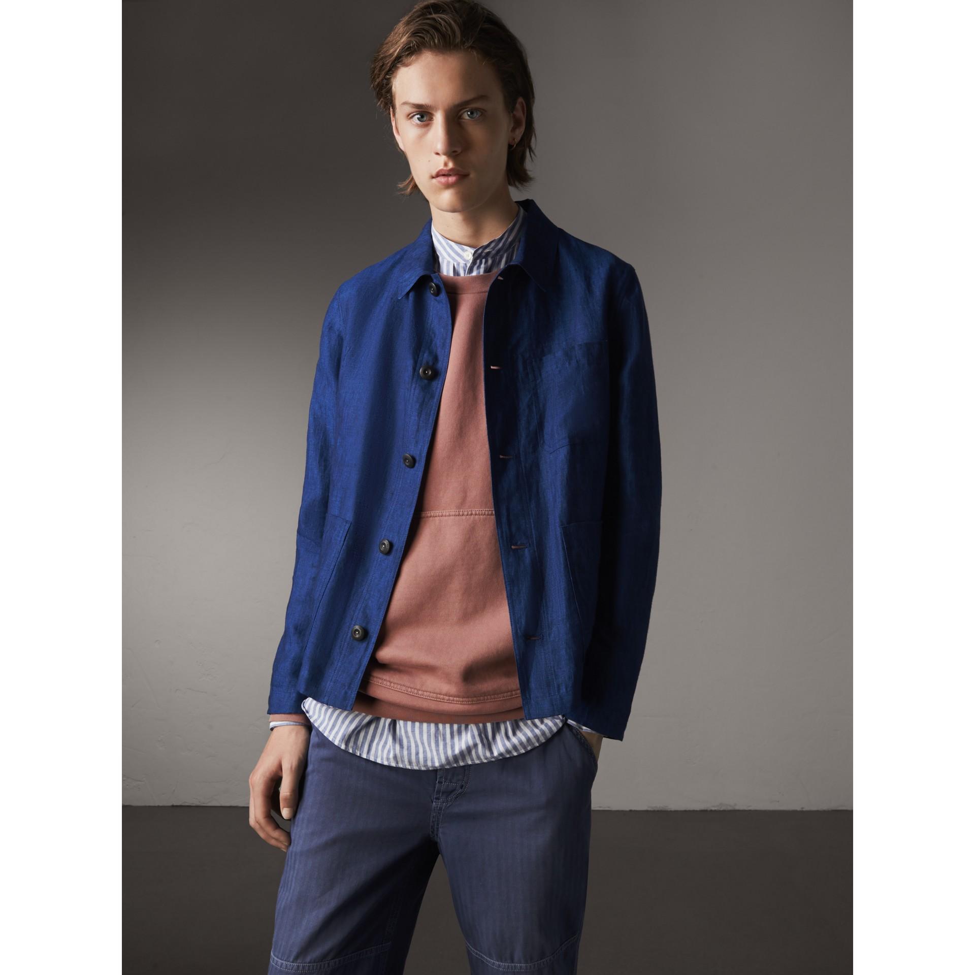Linen Workwear Jacket in Steel Blue - Men | Burberry - gallery image 1