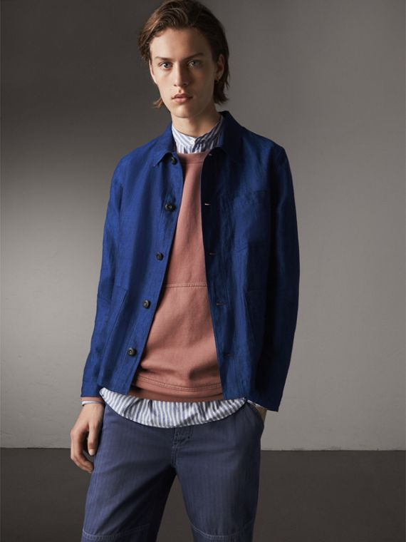 Linen Workwear Jacket in Steel Blue