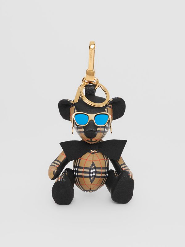 Thomas Bear Charm in Sunglasses in Black/antique Yellow | Burberry - cell image 2