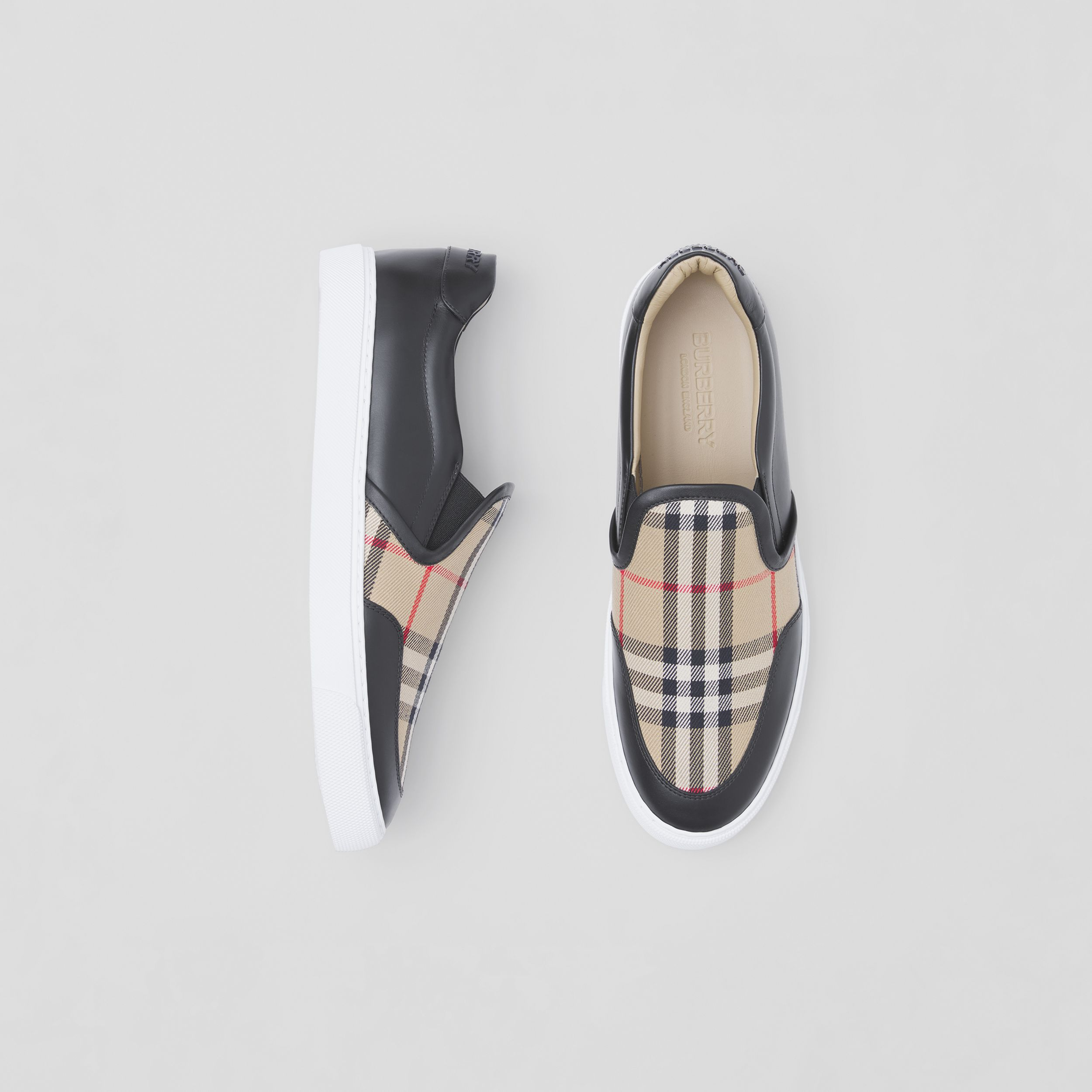 Leather and Vintage Check Slip-on Sneakers in Black - Women | Burberry - 1