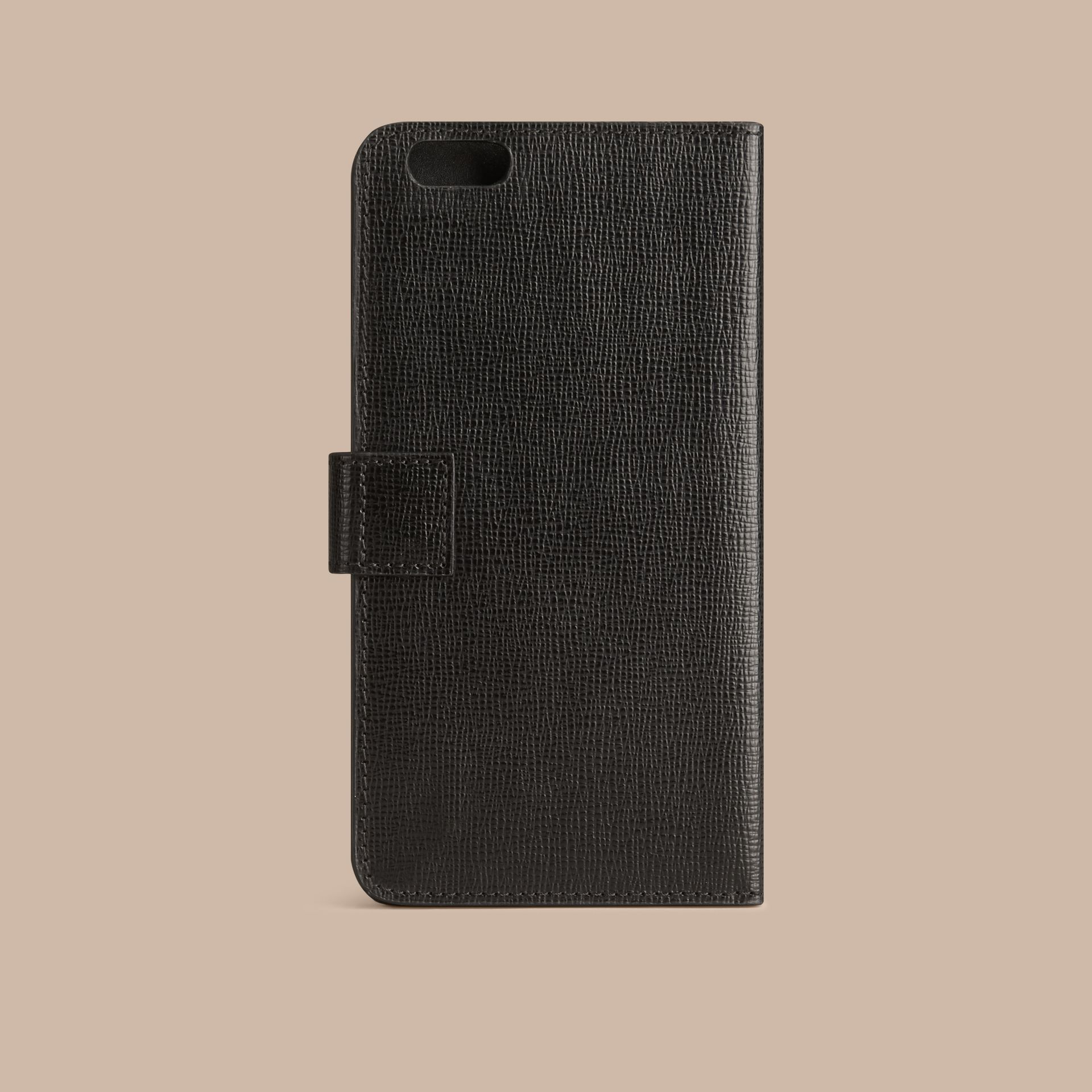 Black London Leather iPhone 6 Plus Flip Case Black - gallery image 3