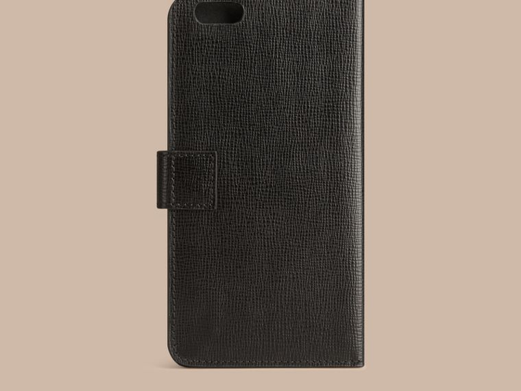 Black London Leather iPhone 6 Plus Flip Case Black - cell image 2