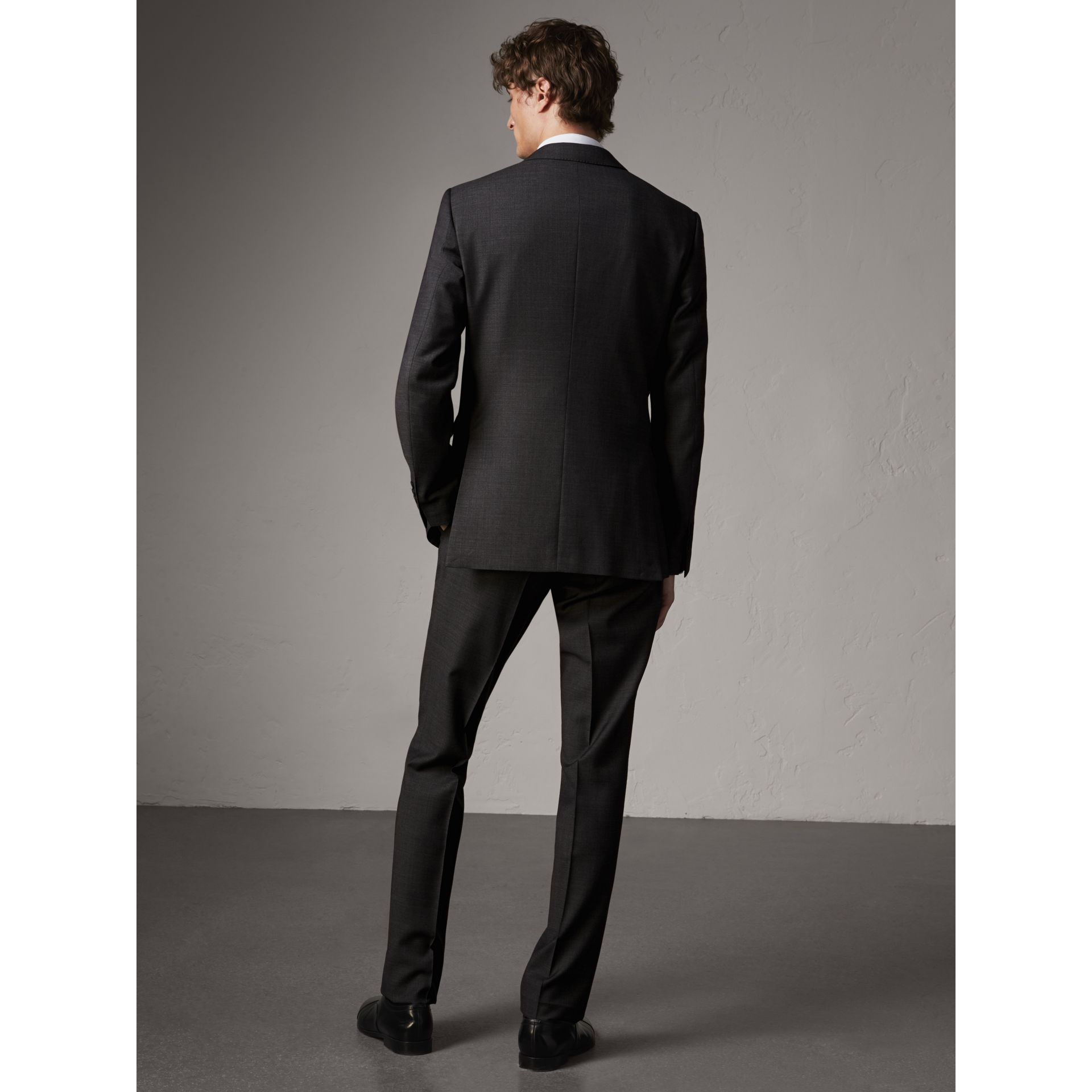 Modern Fit Travel Tailoring Virgin Wool Suit in Dark Grey Melange - Men | Burberry Canada - gallery image 2